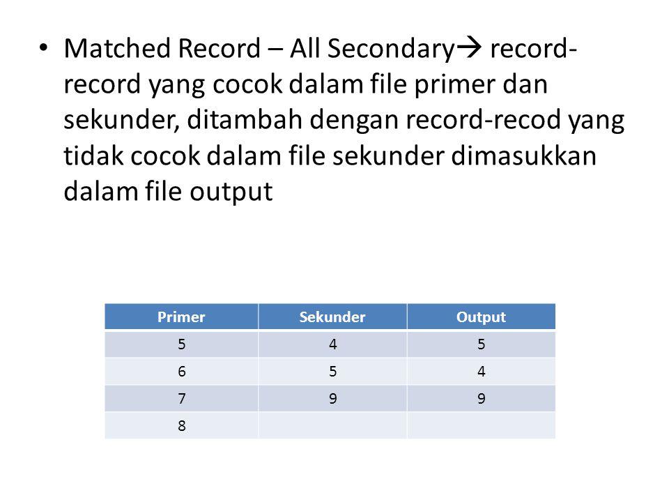 • Matched Record – All Secondary  record- record yang cocok dalam file primer dan sekunder, ditambah dengan record-recod yang tidak cocok dalam file