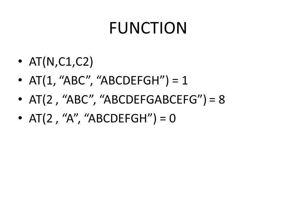 """FUNCTION • AT(N,C1,C2) • AT(1, """"ABC"""", """"ABCDEFGH"""") = 1 • AT(2, """"ABC"""", """"ABCDEFGABCEFG"""") = 8 • AT(2, """"A"""", """"ABCDEFGH"""") = 0"""