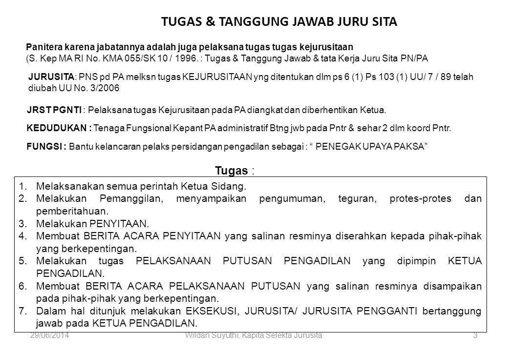 29/06/2014Wildan Suyuthi, Kapita Selekta Jurusita4 TATA KERJA JURU SITA/ JURU SITA PENGGANTI 1) Buku Daftar catatan pelaksanaan tugas secara jelas dan rinci.