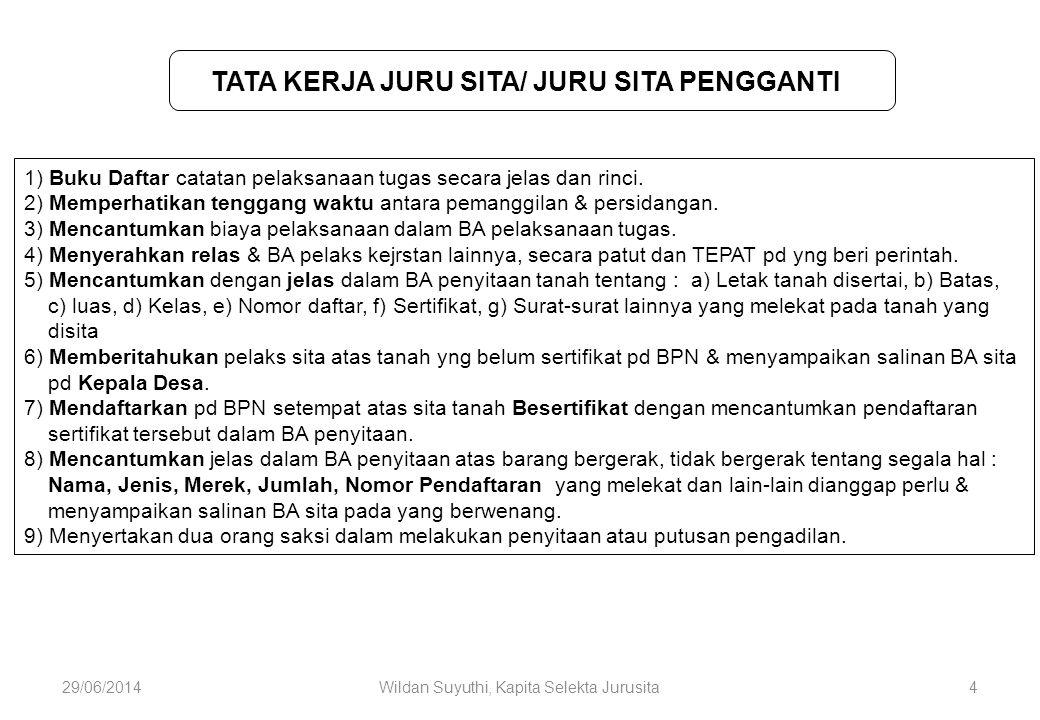 29/06/2014Wildan Suyuthi, Kapita Selekta Jurusita4 TATA KERJA JURU SITA/ JURU SITA PENGGANTI 1) Buku Daftar catatan pelaksanaan tugas secara jelas dan