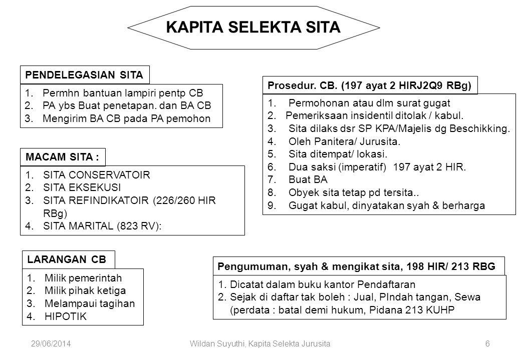 29/06/2014Wildan Suyuthi, Kapita Selekta Jurusita6 KAPITA SELEKTA SITA PENDELEGASIAN SITA 1.Permhn bantuan lampiri pentp CB 2.PA ybs Buat penetapan. d