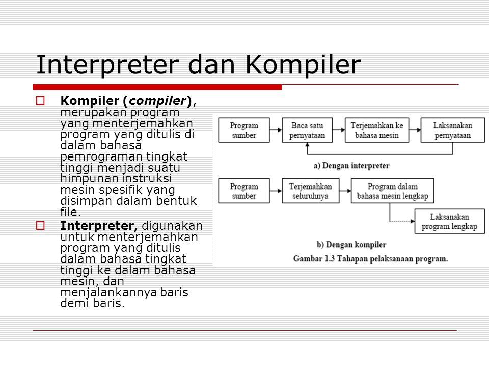 Interpreter dan Kompiler  Kompiler (compiler), merupakan program yang menterjemahkan program yang ditulis di dalam bahasa pemrograman tingkat tinggi