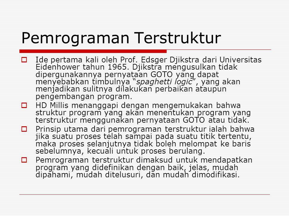 Pemrograman Terstruktur  Ide pertama kali oleh Prof.