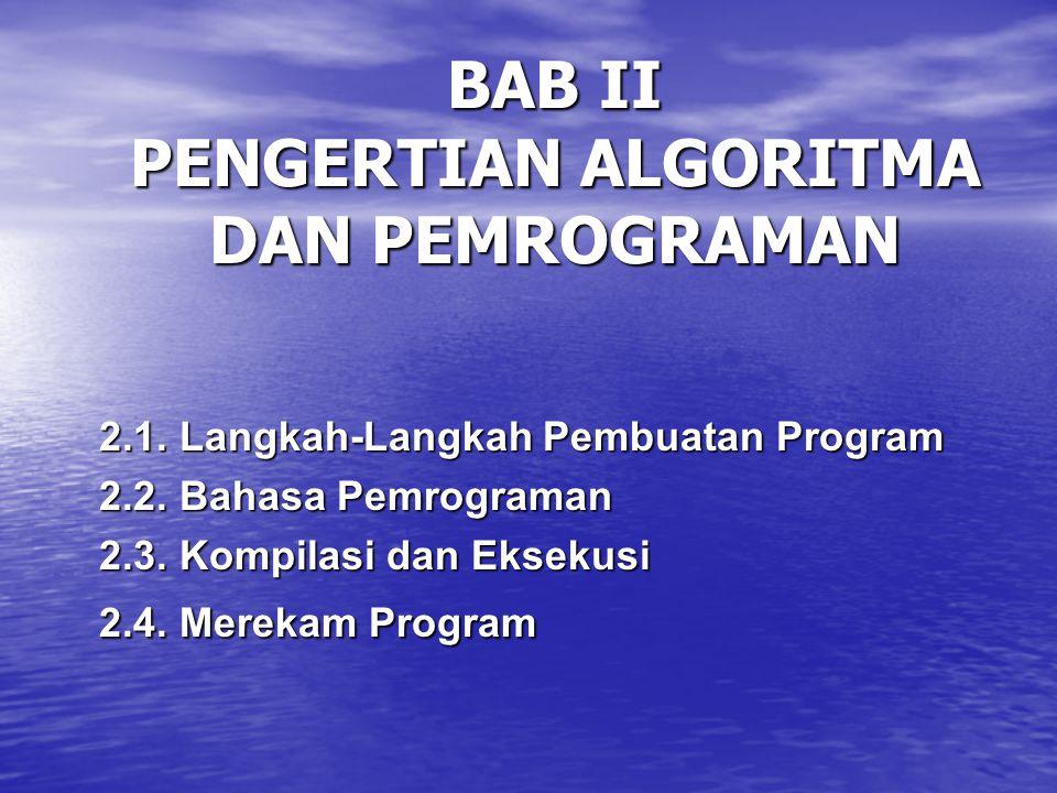 BAB II PENGERTIAN ALGORITMA DAN PEMROGRAMAN 2.1.Langkah-Langkah Pembuatan Program 2.2.