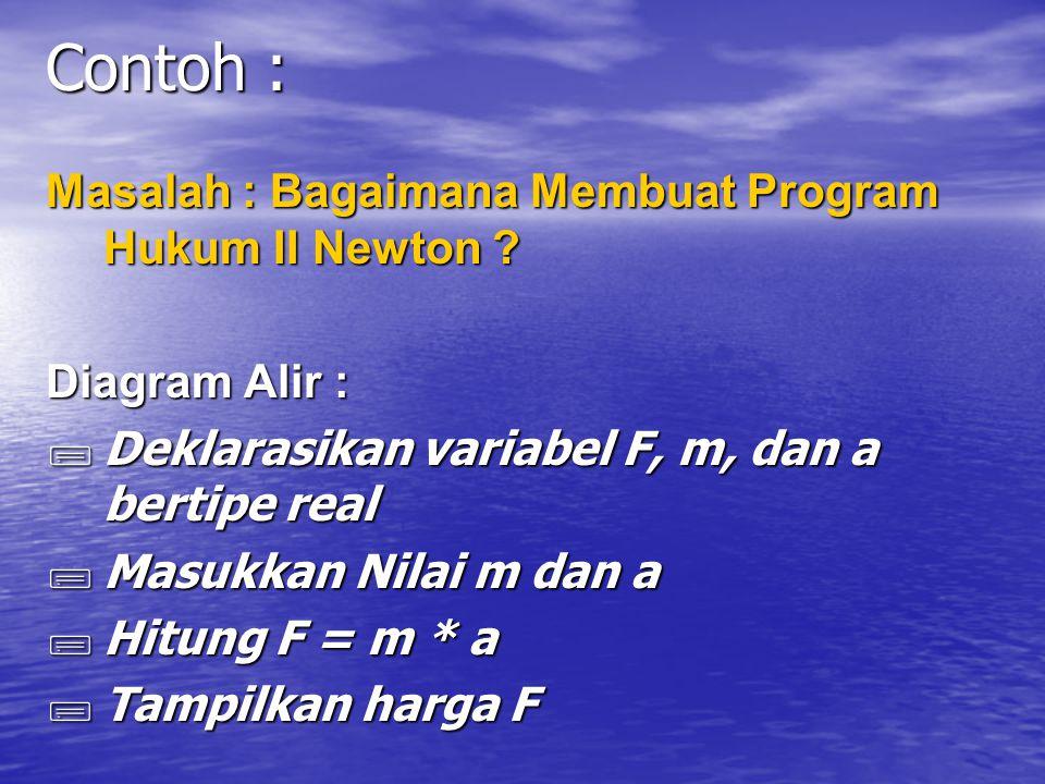 Contoh : Masalah : Bagaimana Membuat Program Hukum II Newton .