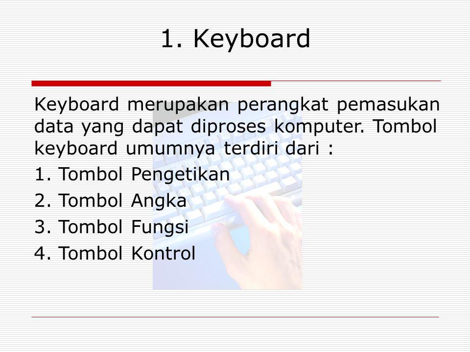 1. Keyboard Keyboard merupakan perangkat pemasukan data yang dapat diproses komputer. Tombol keyboard umumnya terdiri dari : 1. Tombol Pengetikan 2. T