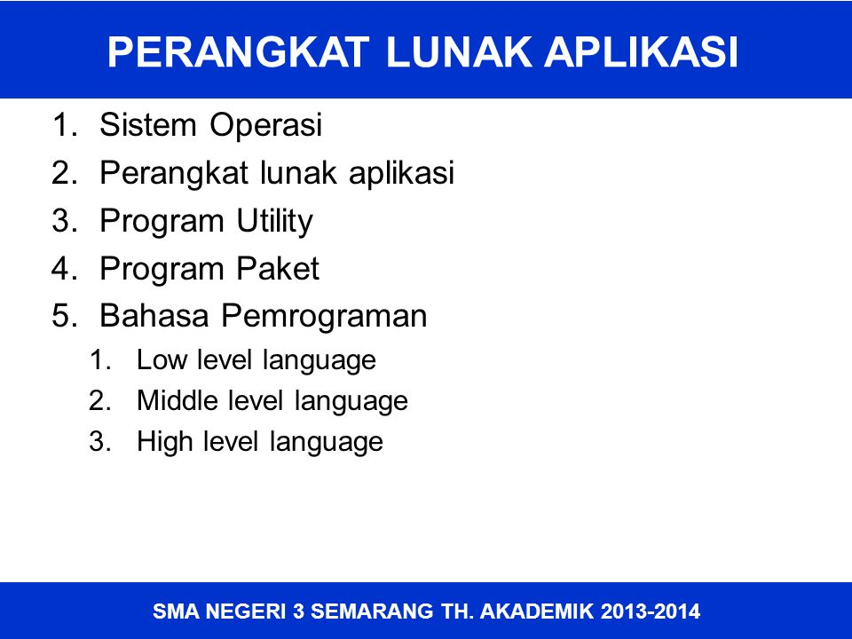 SMA NEGERI 3 SEMARANG TH. AKADEMIK 2013-2014 PERANGKAT LUNAK APLIKASI 1.Sistem Operasi 2.Perangkat lunak aplikasi 3.Program Utility 4.Program Paket 5.
