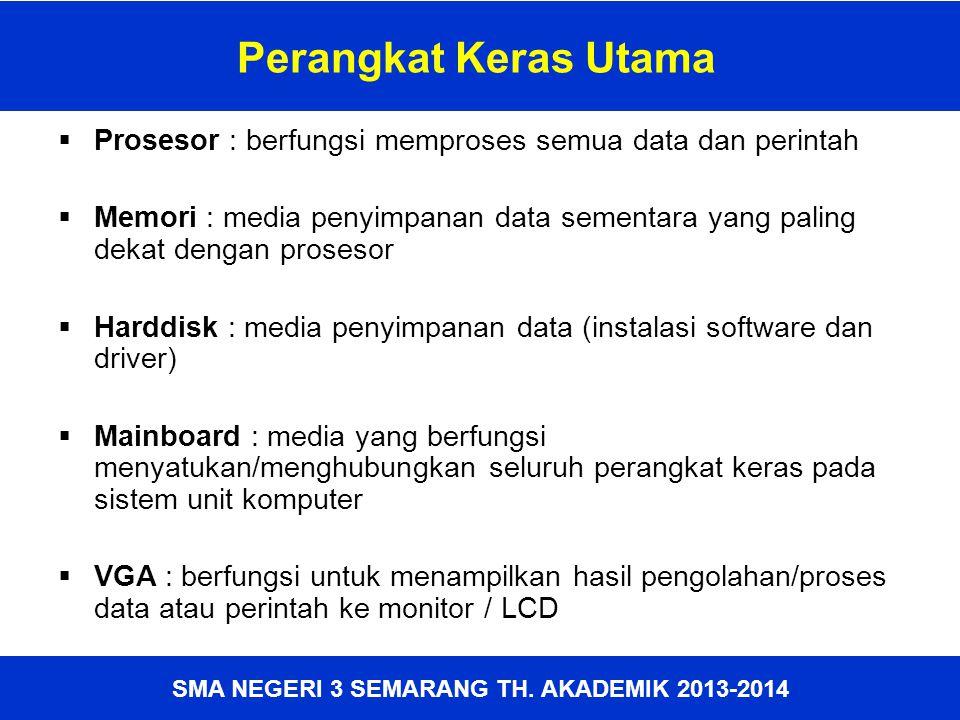 SMA NEGERI 3 SEMARANG TH. AKADEMIK 2013-2014 Perangkat Keras Utama  Prosesor : berfungsi memproses semua data dan perintah  Memori : media penyimpan