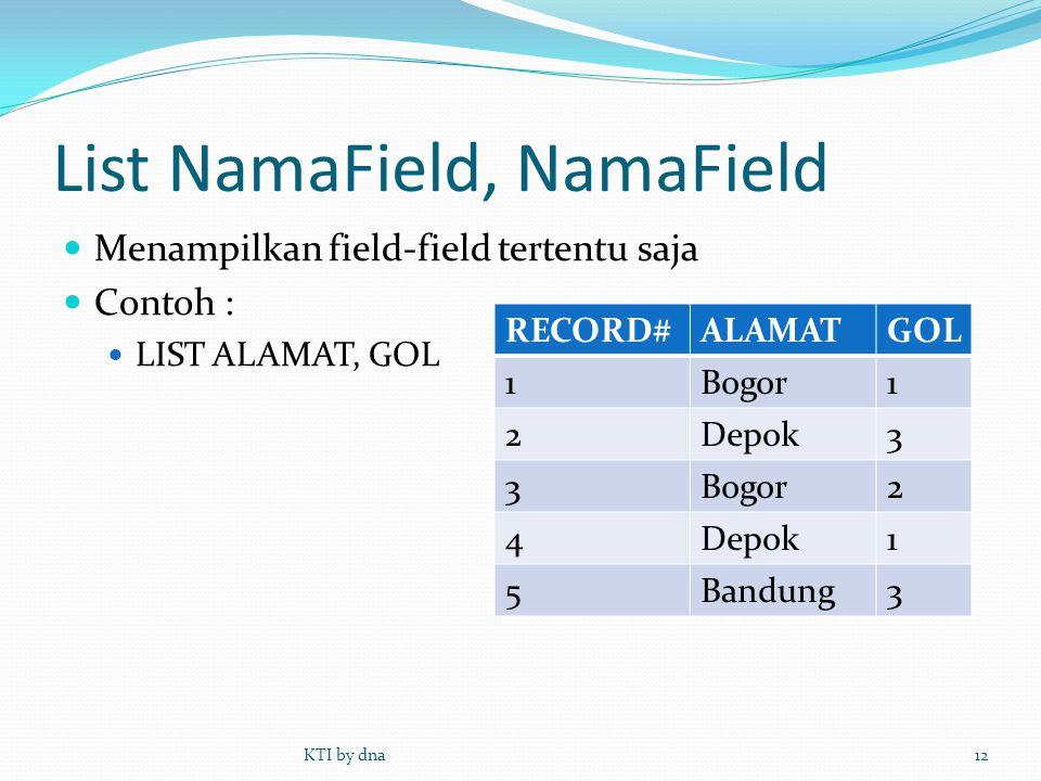List NamaField, NamaField  Menampilkan field-field tertentu saja  Contoh :  LIST ALAMAT, GOL KTI by dna12 RECORD#ALAMATGOL 1Bogor1 2Depok3 3Bogor2