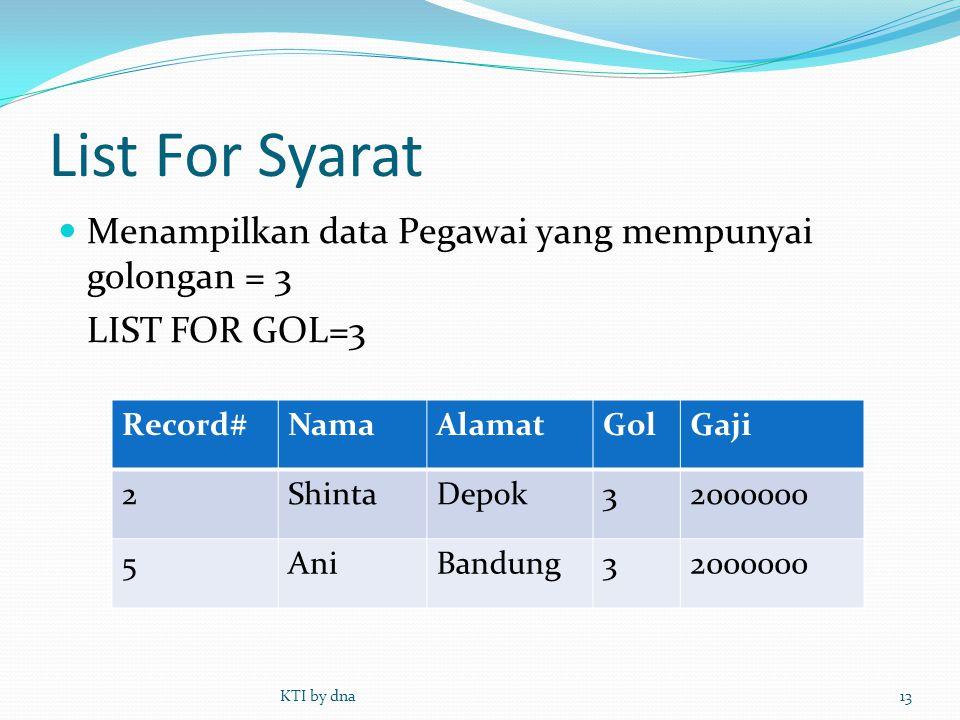 List For Syarat  Menampilkan data Pegawai yang mempunyai golongan = 3 LIST FOR GOL=3 KTI by dna13 Record#NamaAlamatGolGaji 2ShintaDepok32000000 5AniB