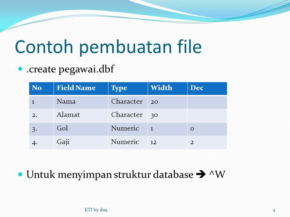 Contoh pembuatan file .create pegawai.dbf  Untuk menyimpan struktur database  ^W KTI by dna4 NoField NameTypeWidthDec 1NamaCharacter20 2.AlamatChar
