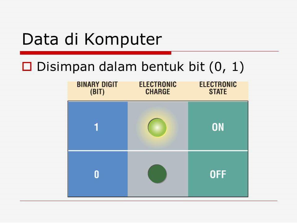 Data di Komputer  Disimpan dalam bentuk bit (0, 1)