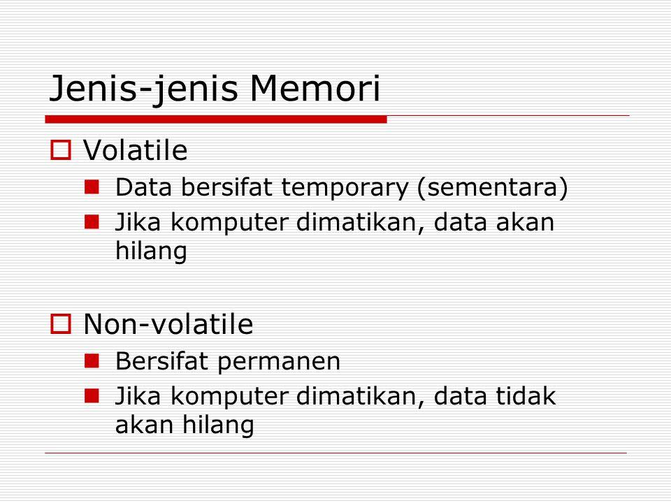 Jenis-jenis Memori  Volatile  Data bersifat temporary (sementara)  Jika komputer dimatikan, data akan hilang  Non-volatile  Bersifat permanen  Jika komputer dimatikan, data tidak akan hilang
