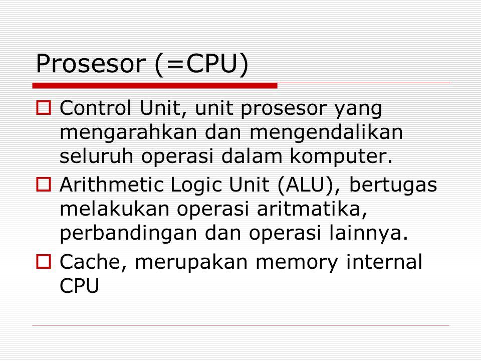 Prosesor (=CPU)  Control Unit, unit prosesor yang mengarahkan dan mengendalikan seluruh operasi dalam komputer.