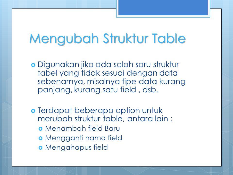 Mengubah Struktur Table  Digunakan jika ada salah saru struktur tabel yang tidak sesuai dengan data sebenarnya, misalnya tipe data kurang panjang, kurang satu field, dsb.