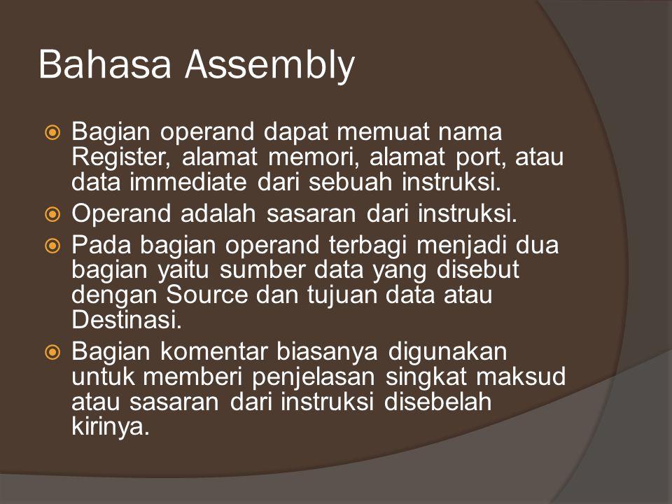 Bahasa Assembly  Bagian operand dapat memuat nama Register, alamat memori, alamat port, atau data immediate dari sebuah instruksi.  Operand adalah s