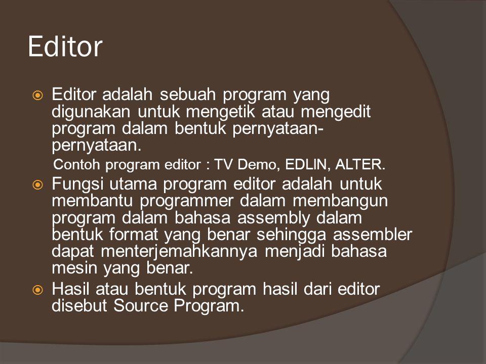 Editor  Editor adalah sebuah program yang digunakan untuk mengetik atau mengedit program dalam bentuk pernyataan- pernyataan. Contoh program editor :