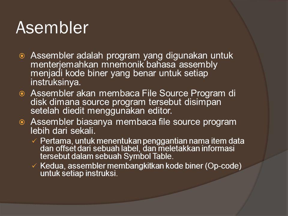 Asembler  Assembler adalah program yang digunakan untuk menterjemahkan mnemonik bahasa assembly menjadi kode biner yang benar untuk setiap instruksin