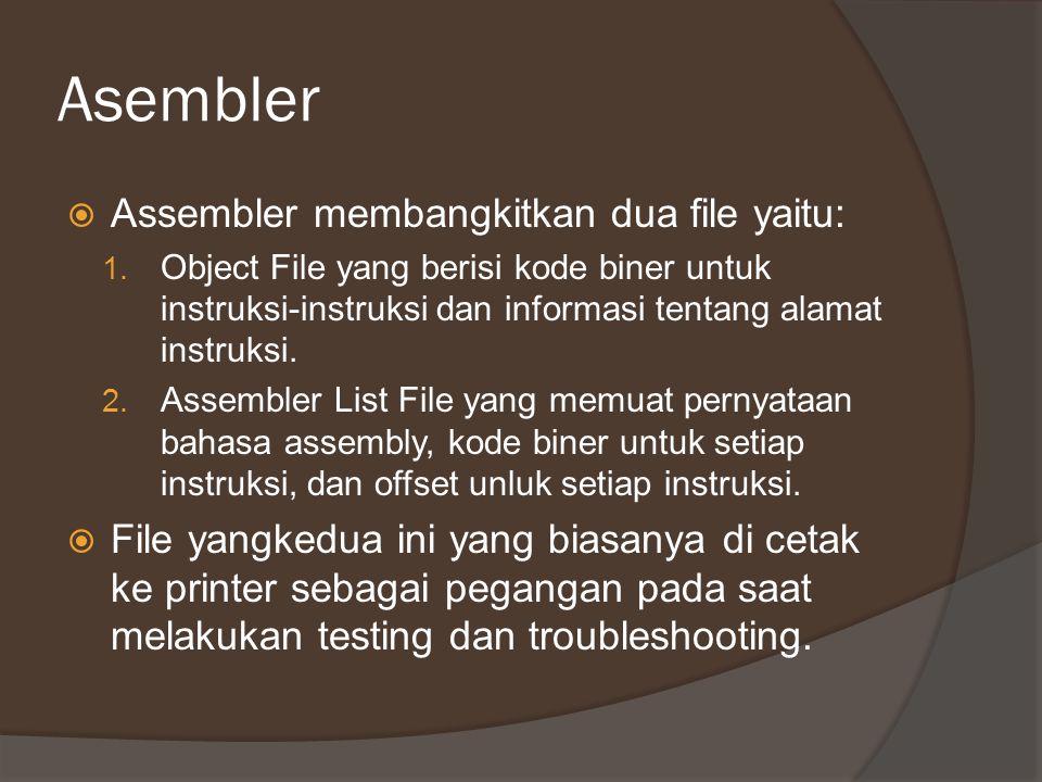 Asembler  Assembler membangkitkan dua file yaitu: 1. Object File yang berisi kode biner untuk instruksi-instruksi dan informasi tentang alamat instru