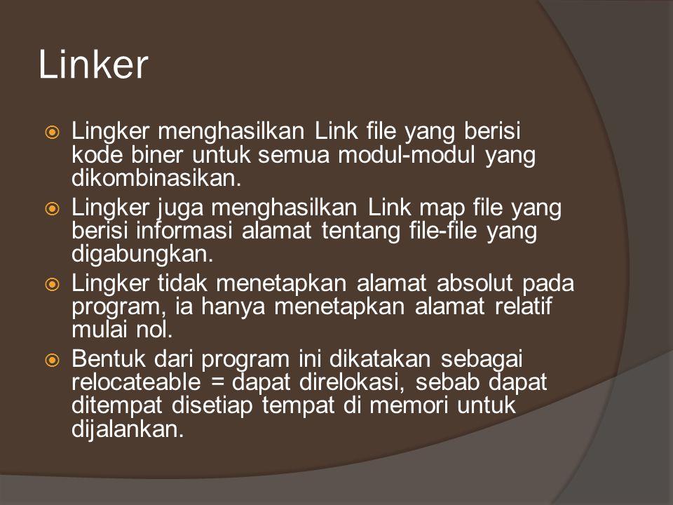 Linker  Lingker menghasilkan Link file yang berisi kode biner untuk semua modul-modul yang dikombinasikan.  Lingker juga menghasilkan Link map file