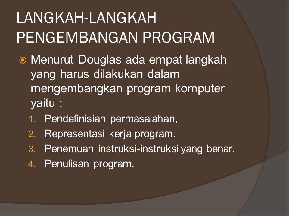 LANGKAH-LANGKAH PENGEMBANGAN PROGRAM  Menurut Douglas ada empat langkah yang harus dilakukan dalam mengembangkan program komputer yaitu : 1. Pendefin