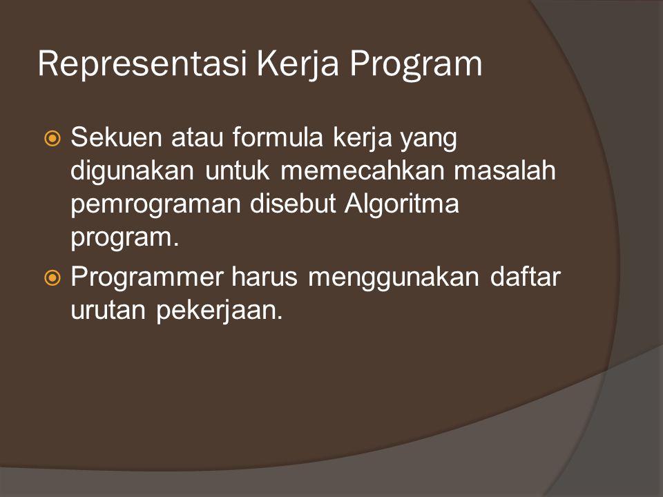 Representasi Kerja Program  Sekuen atau formula kerja yang digunakan untuk memecahkan masalah pemrograman disebut Algoritma program.  Programmer har