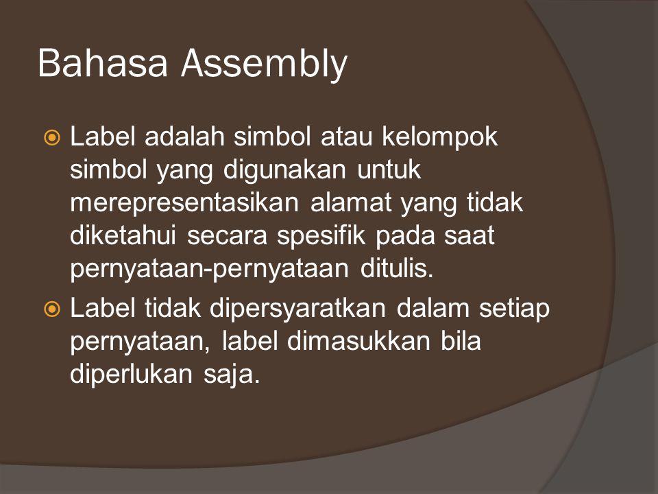 Bahasa Assembly  Label adalah simbol atau kelompok simbol yang digunakan untuk merepresentasikan alamat yang tidak diketahui secara spesifik pada saa
