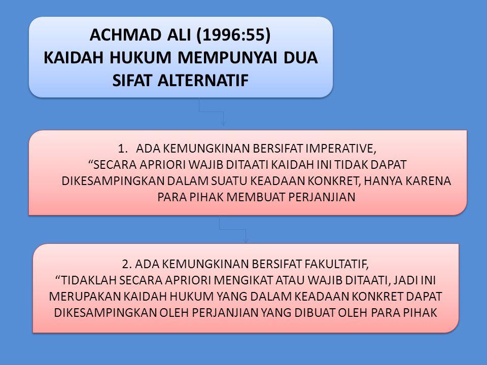 ACHMAD ALI (1996:55) KAIDAH HUKUM MEMPUNYAI DUA SIFAT ALTERNATIF ACHMAD ALI (1996:55) KAIDAH HUKUM MEMPUNYAI DUA SIFAT ALTERNATIF 1.ADA KEMUNGKINAN BE