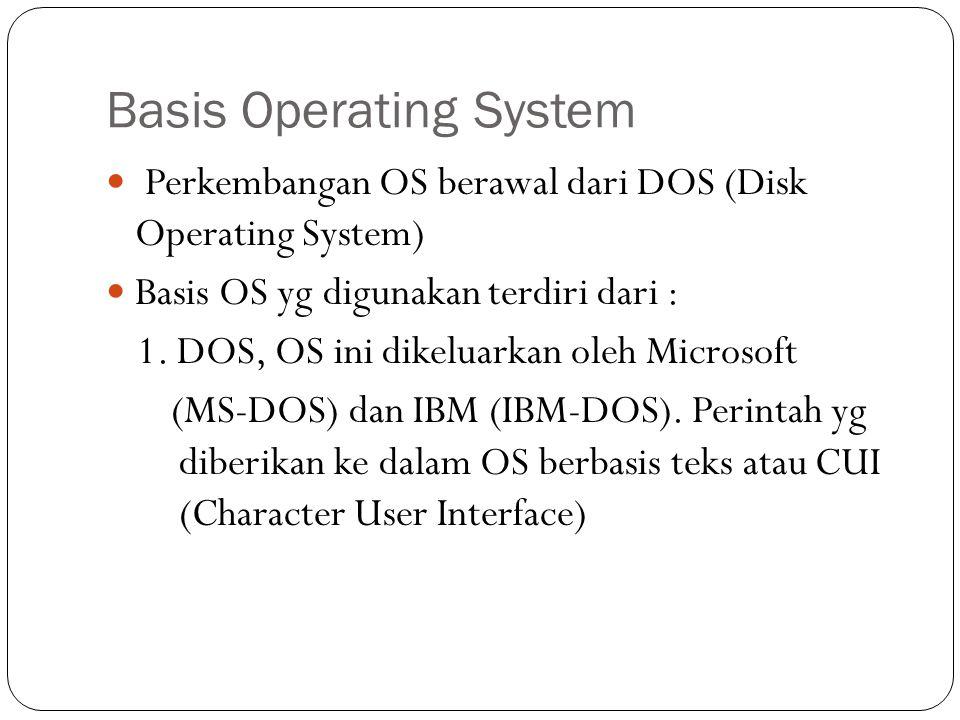 Basis Operating System  Perkembangan OS berawal dari DOS (Disk Operating System)  Basis OS yg digunakan terdiri dari : 1.