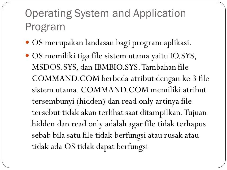 Operating System and Application Program  OS merupakan landasan bagi program aplikasi.