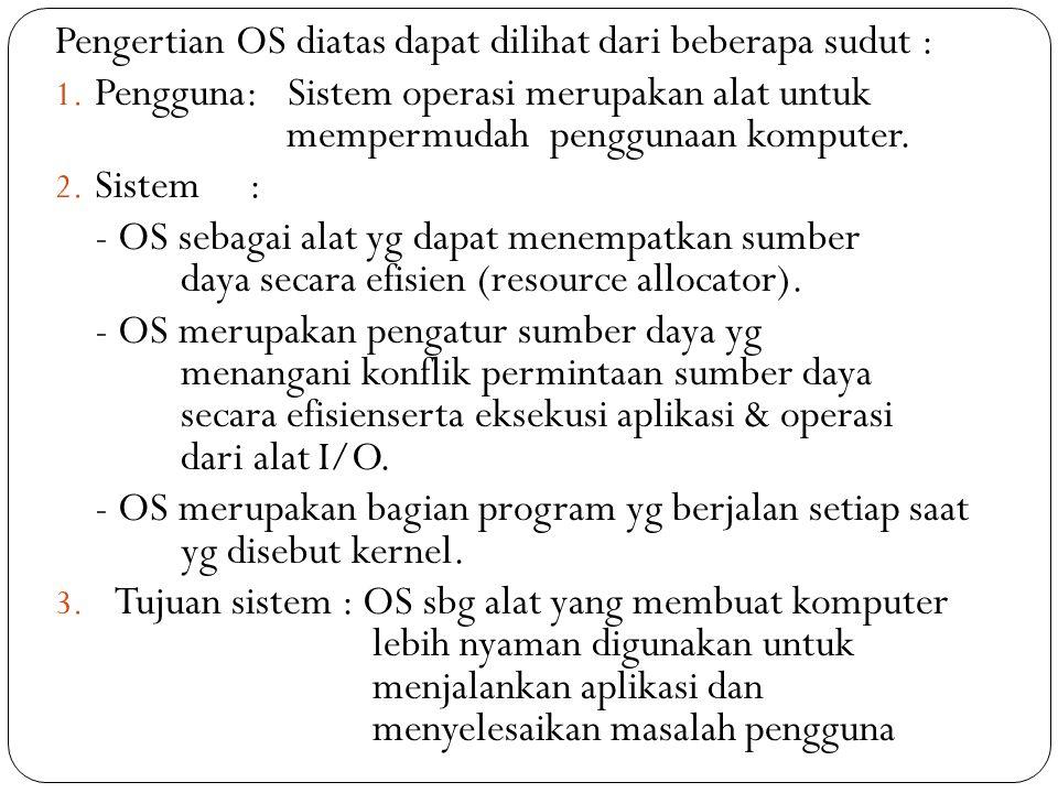 Pengertian OS diatas dapat dilihat dari beberapa sudut : 1.