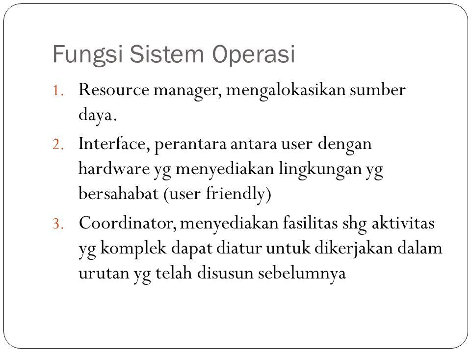Fungsi Sistem Operasi 1.Resource manager, mengalokasikan sumber daya.