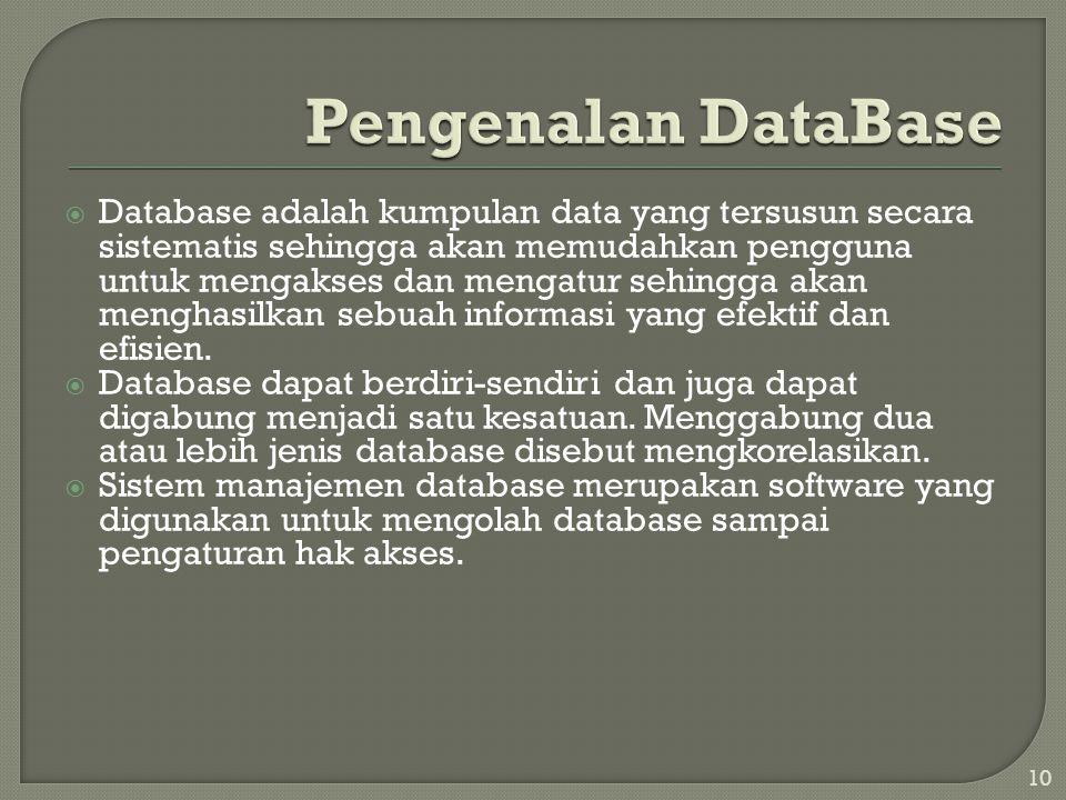 10  Database adalah kumpulan data yang tersusun secara sistematis sehingga akan memudahkan pengguna untuk mengakses dan mengatur sehingga akan menghasilkan sebuah informasi yang efektif dan efisien.