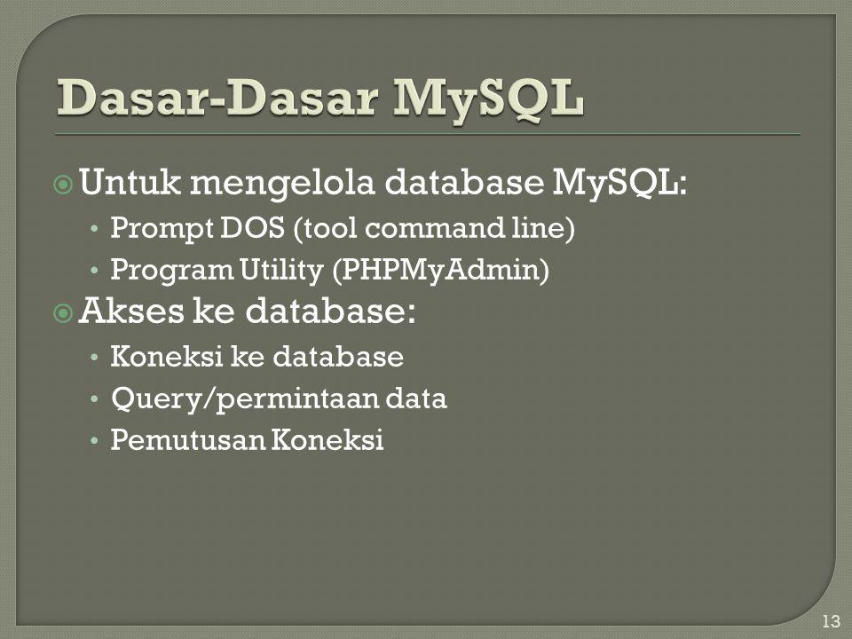 13  Untuk mengelola database MySQL: • Prompt DOS (tool command line) • Program Utility (PHPMyAdmin)  Akses ke database: • Koneksi ke database • Quer