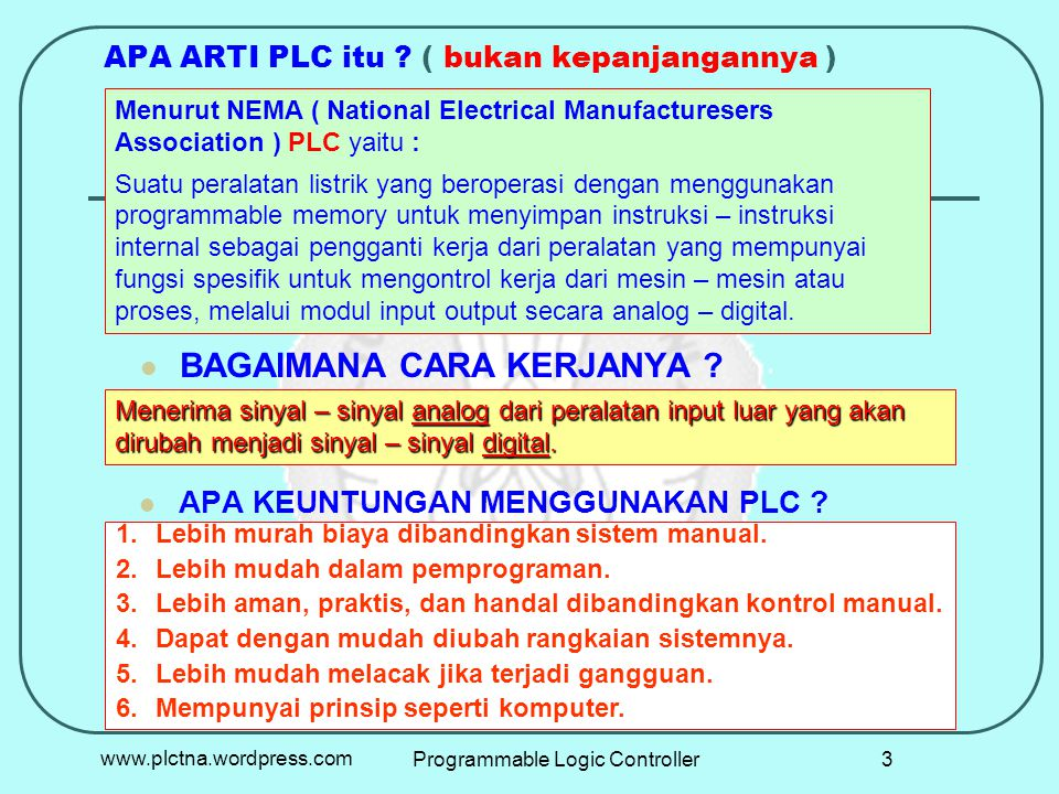 P L C 01 02 COM + 00 - 1000 1001 1002 1003 COM COM K1 L2 Horn 10 11 L N Sumber Tegangan 23www.plctna.wordpress.comProgrammable Logic Controller