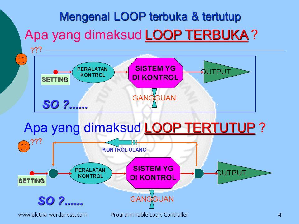 MNEUMONIC CODE ( lanjutan ) 1.KEEP ( 11 ) 2.TIM dan TIMH ( 15 ) 3.CNT dan CNTR ( 12 ) 4.IL ( 02 ) dan ILC ( 03 ) 5.SFT ( 10 ) 6.DIFU ( 13 ) dan DIFD ( 14 ) 7.JMP ( 04 ) dan JME ( 05 ) 8.MOV ( 21 ) dan MVN ( 22 ) 9.CMP ( 20 ) 10.CTBL ( 63 ) 14 www.plctna.wordpress.comProgrammable Logic Controller