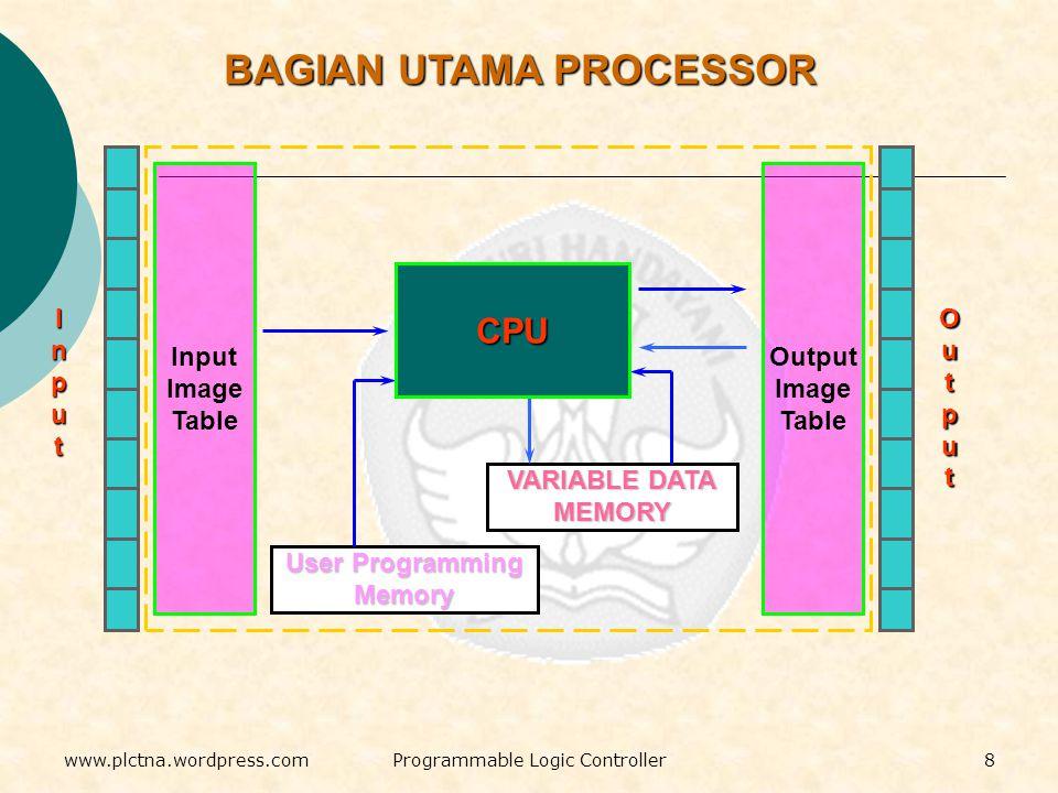 VARIABLE DATA MEMORY User Programming Memory CPU Output Image Table Input Image Table InputInputInputInput OutputOutputOutputOutput BAGIAN UTAMA PROCESSOR 8www.plctna.wordpress.comProgrammable Logic Controller