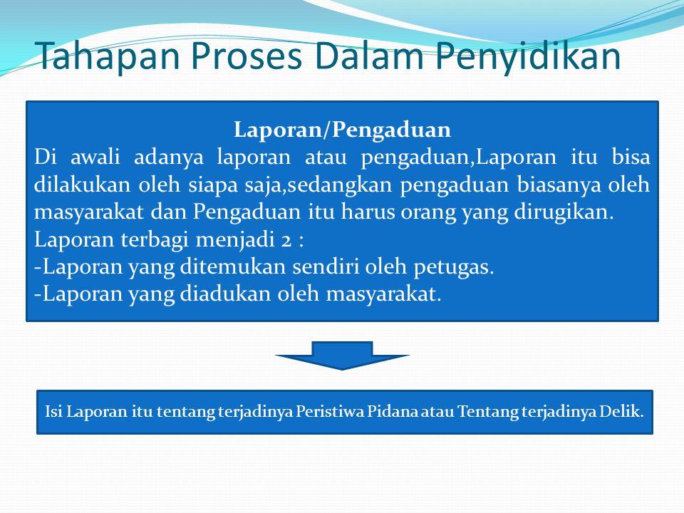 Tahapan Proses Dalam Penyidikan Laporan/Pengaduan Di awali adanya laporan atau pengaduan,Laporan itu bisa dilakukan oleh siapa saja,sedangkan pengadua