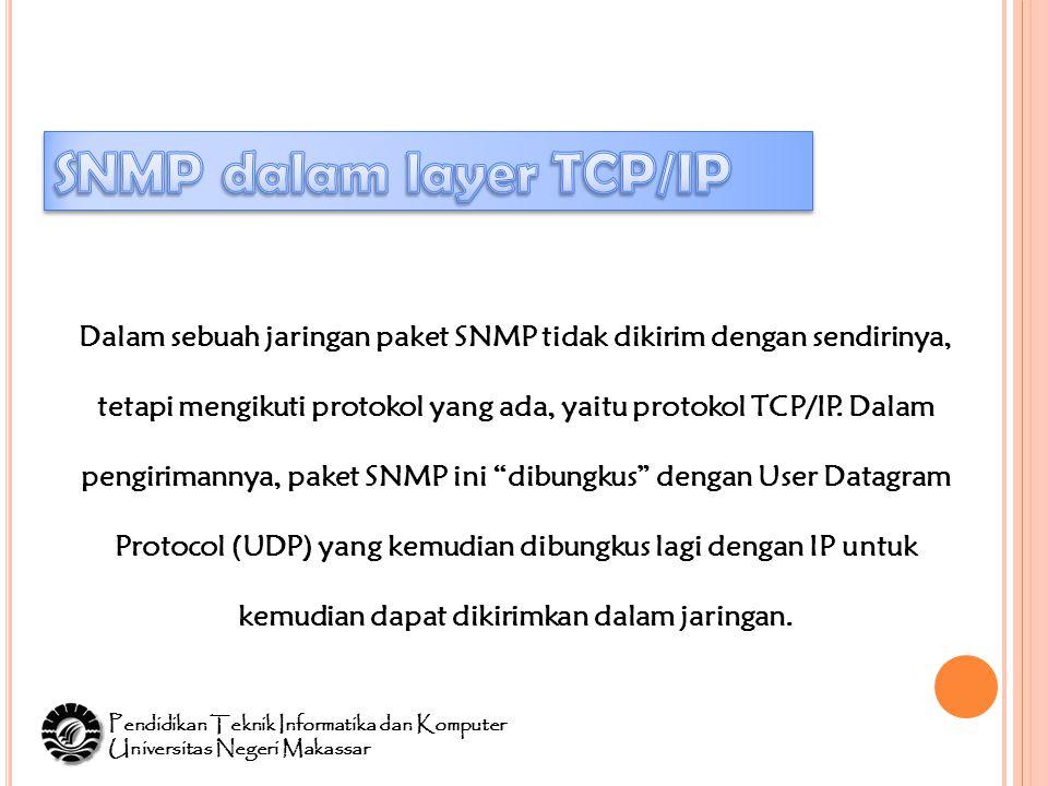 Dalam sebuah jaringan paket SNMP tidak dikirim dengan sendirinya, tetapi mengikuti protokol yang ada, yaitu protokol TCP/IP.