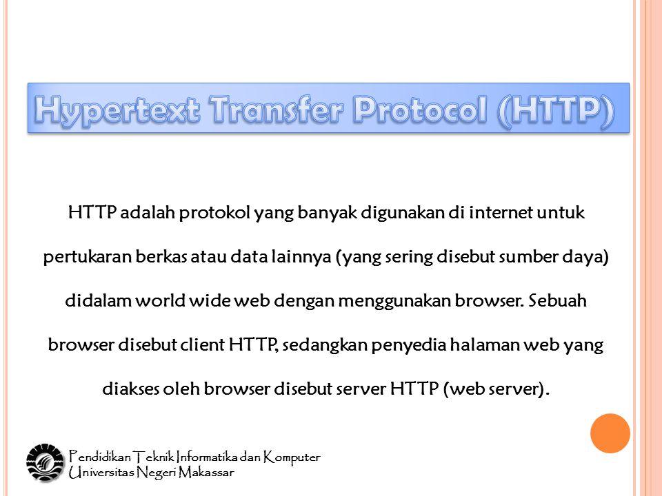 HTTP adalah protokol yang banyak digunakan di internet untuk pertukaran berkas atau data lainnya (yang sering disebut sumber daya) didalam world wide web dengan menggunakan browser.