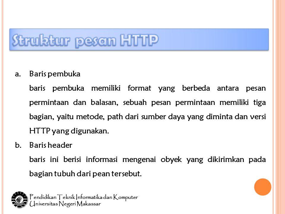 a.Baris pembuka baris pembuka memiliki format yang berbeda antara pesan permintaan dan balasan, sebuah pesan permintaan memiliki tiga bagian, yaitu metode, path dari sumber daya yang diminta dan versi HTTP yang digunakan.