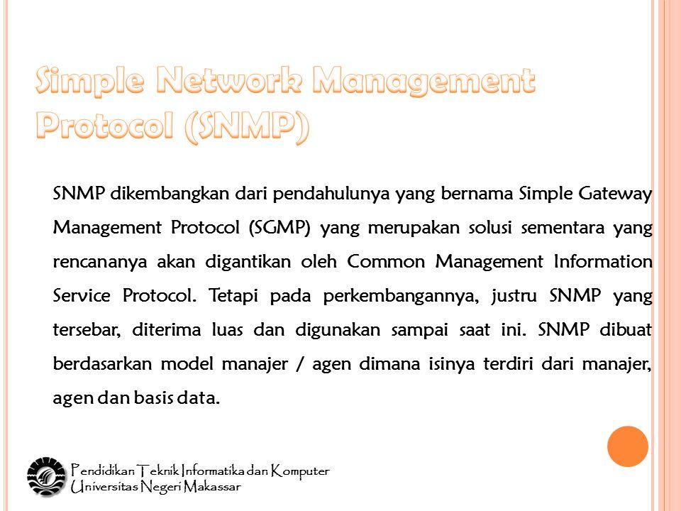 SNMP dikembangkan dari pendahulunya yang bernama Simple Gateway Management Protocol (SGMP) yang merupakan solusi sementara yang rencananya akan digantikan oleh Common Management Information Service Protocol.
