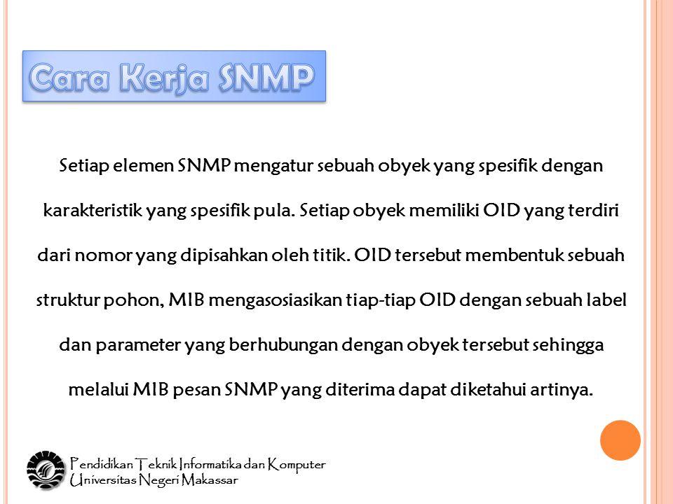 Setiap elemen SNMP mengatur sebuah obyek yang spesifik dengan karakteristik yang spesifik pula.