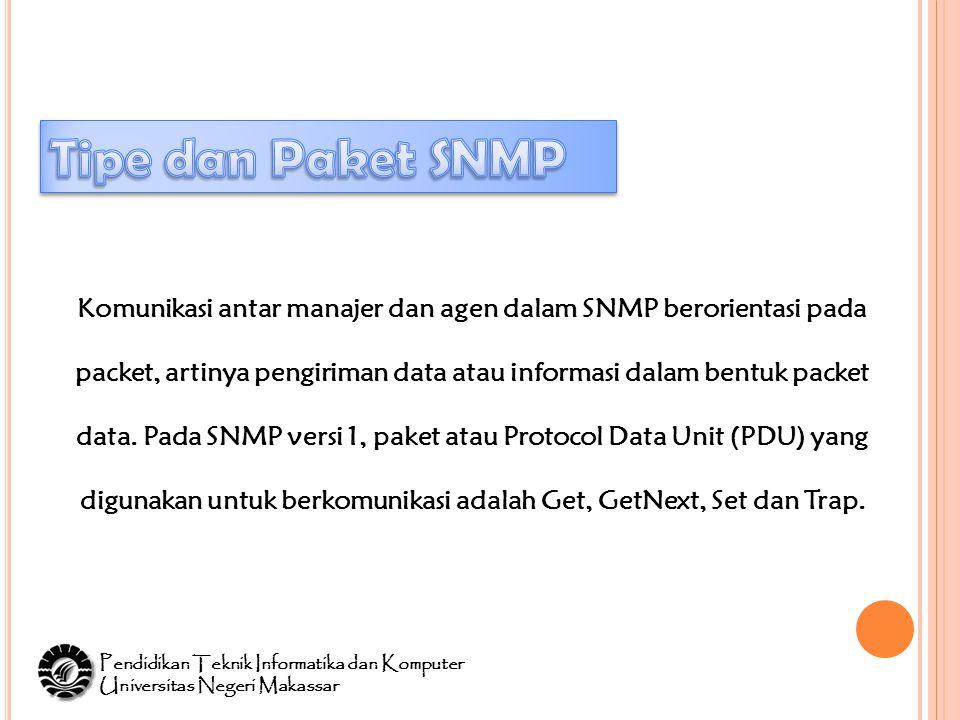 Komunikasi antar manajer dan agen dalam SNMP berorientasi pada packet, artinya pengiriman data atau informasi dalam bentuk packet data.