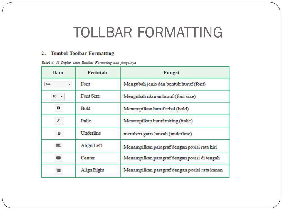 TOLLBAR FORMATTING