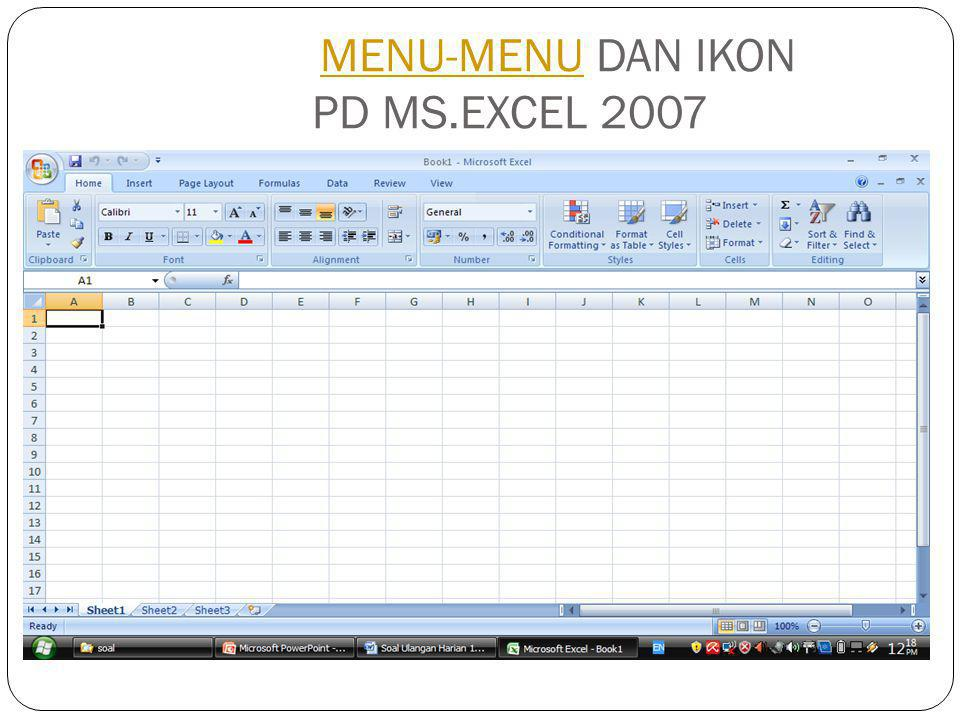 MENU-MENU DAN IKON PD MS.EXCEL 2003MENU-MENU
