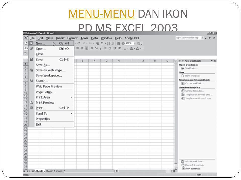MENU-MENU DAN IKON PD MS.EXCEL 2003MENU-MENU