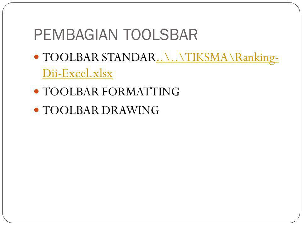 PEMBAGIAN TOOLSBAR  TOOLBAR STANDAR..\..\TIKSMA\Ranking- Dii-Excel.xlsx..\..\TIKSMA\Ranking- Dii-Excel.xlsx  TOOLBAR FORMATTING  TOOLBAR DRAWING
