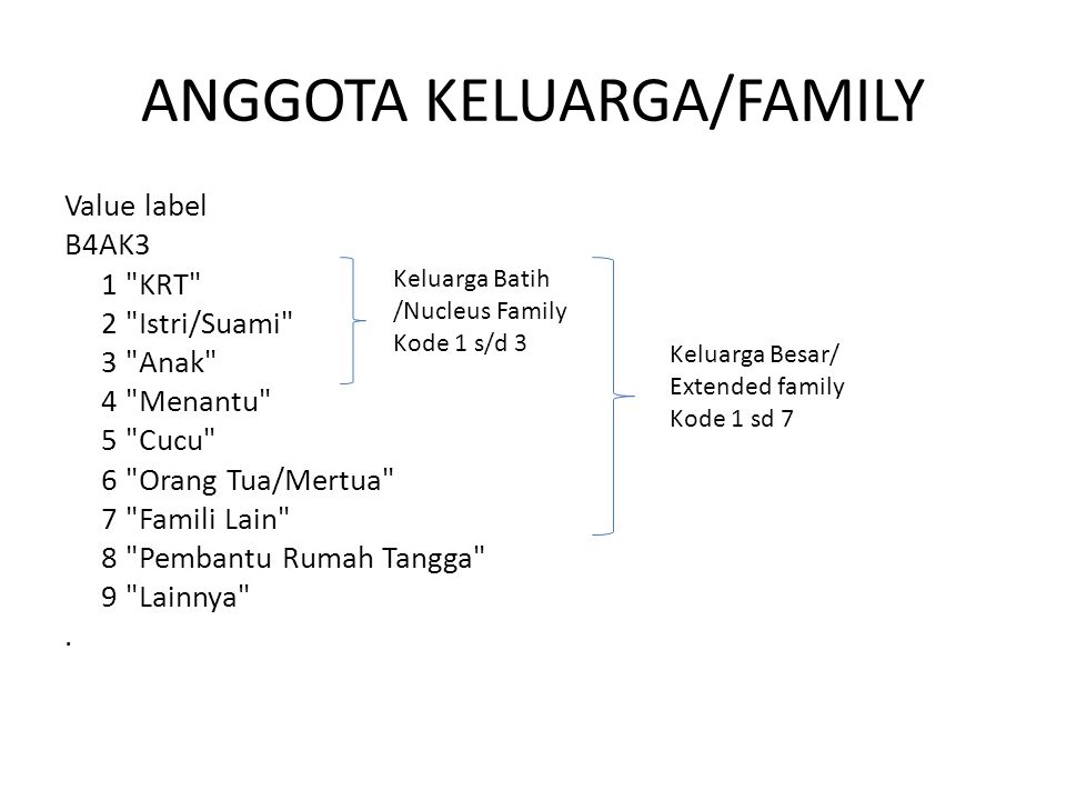 ANGGOTA KELUARGA/FAMILY Value label B4AK3 1