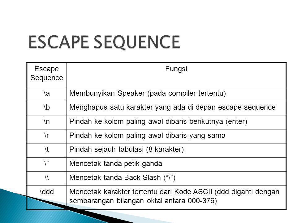 Escape Sequence Fungsi \aMembunyikan Speaker (pada compiler tertentu) \bMenghapus satu karakter yang ada di depan escape sequence \nPindah ke kolom pa